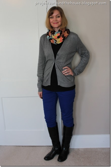 missoni scarf and cobalt jeans