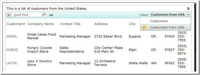 Select Customers from USA view using the view selector.