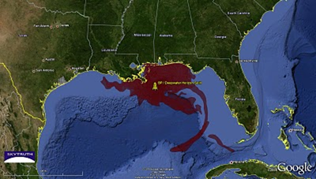 Map showing cumulative oil slick footprint from BP / Deepwater Horizon oil spill, based on satellite images taken between 25 April 2010 and 16 July 2010. Graphic: SkyTruth