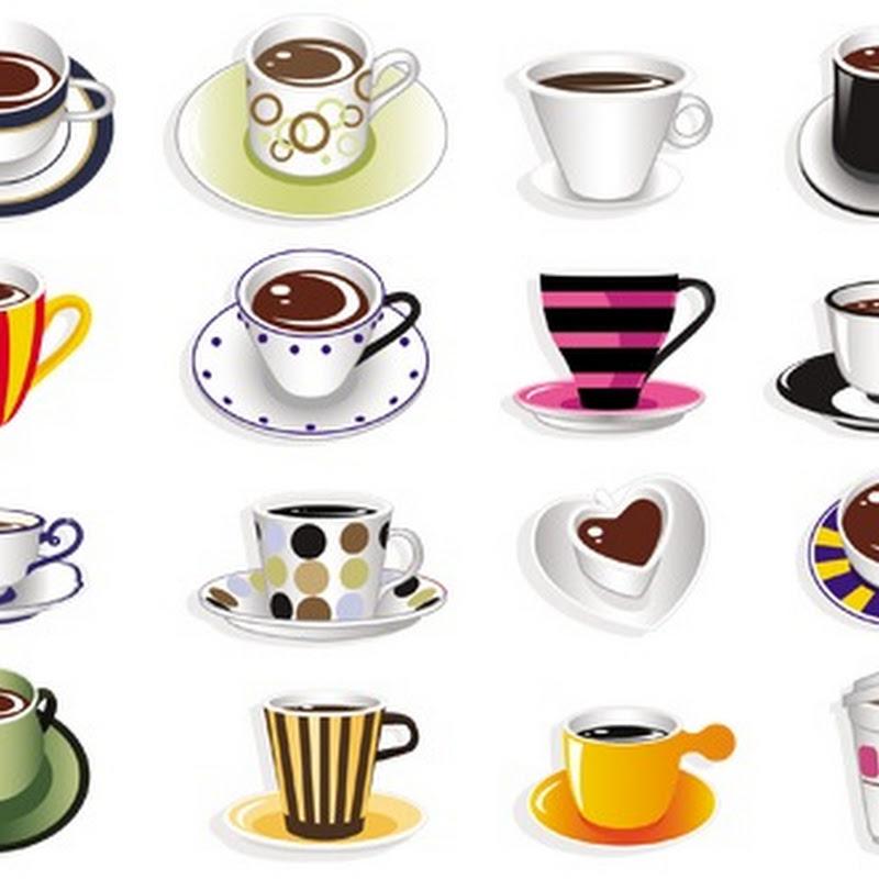 Xícaras/canecas de café em vetor