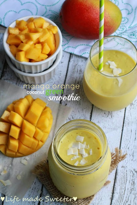 Mango Orange Coconut Green Smoothie - Life Made Sweeter.jpg