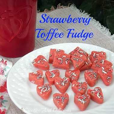Strawberry Toffee Fudge via Creative and Delicious