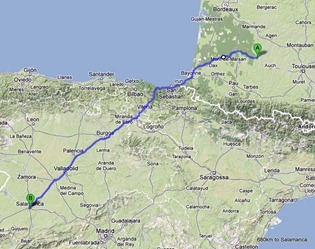 680km to Salamanca