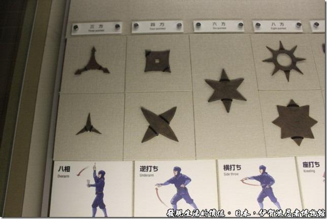 日本伊賀流忍者博物館,各式各樣的手裡劍。