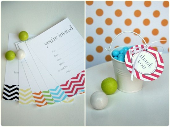 chevron invitations and tags