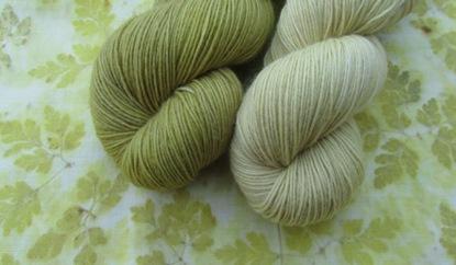 Stoff und Sockenwolle - Ruprechtskrautfärbung