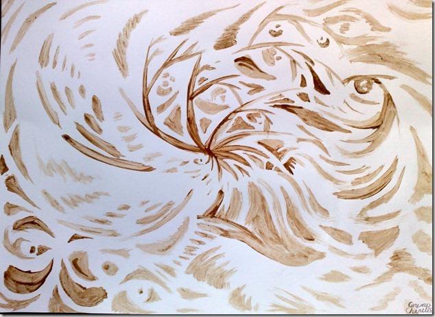 pictura abstracta moderna facuta cu cafea