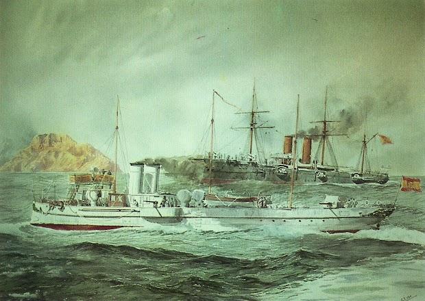 El DESTRUCTOR maniobrando a un crucero de la clase ALFONSO XII. Acuarela de G. de Aledo. Del libro NUESTRA MARINA.jpg