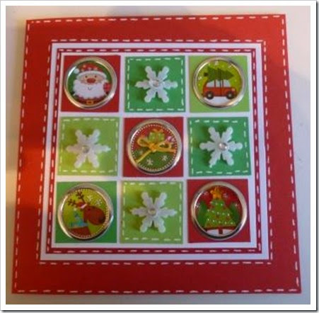 Nine Square Bright Christmas Card Snowflakes. foil Christmas stickers
