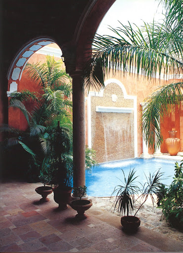 The arches at Casa Marisol are embellished with original stucco ornamentation.
