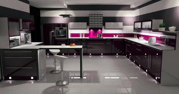 15 modelos de cocinas s per brillosas en colores negro y for Cocinas super modernas