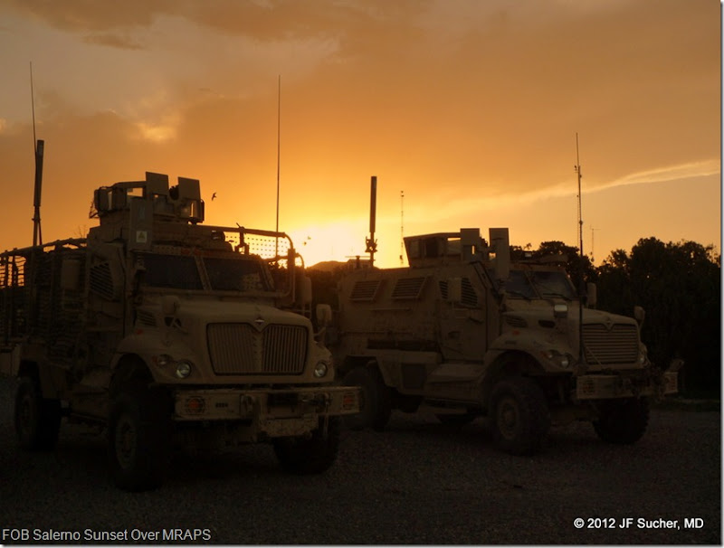 FOB Salerno Sunset Over MRAPS