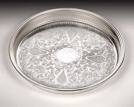 William Wayne Silver Trays are exquisite - I can't entertain without them!  (http://www.william-wayne.com)