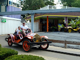Riding the antique cars with daddy at Dutch Wonderland. (August)