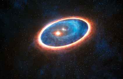 ilustração do sistema binário de estrelas GG Tauri-A