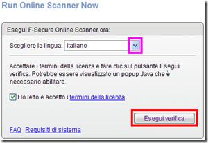 F-Secure Online Scanner Esegui verifica