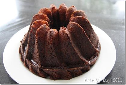 Frangipane ripple chocolate cake