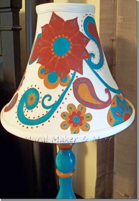 Painted lamp and lampshade doodles just paint it blog painted lampshade 7thumb2 mozeypictures Choice Image