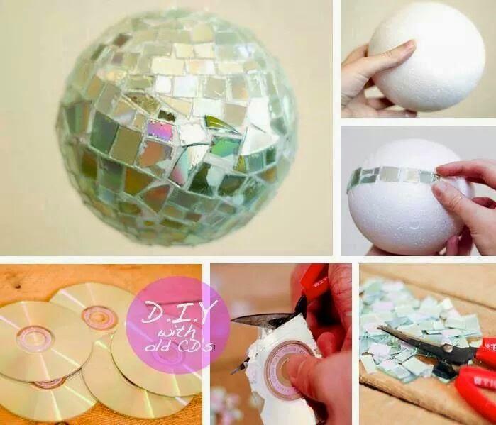 Id es fait main comment faire une boule facettes - Fabriquer une boule a facette ...