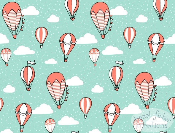 2015 March 11 Spoonflower contest surface pattern design hot air balloon coral mint white black hazel fisher creations