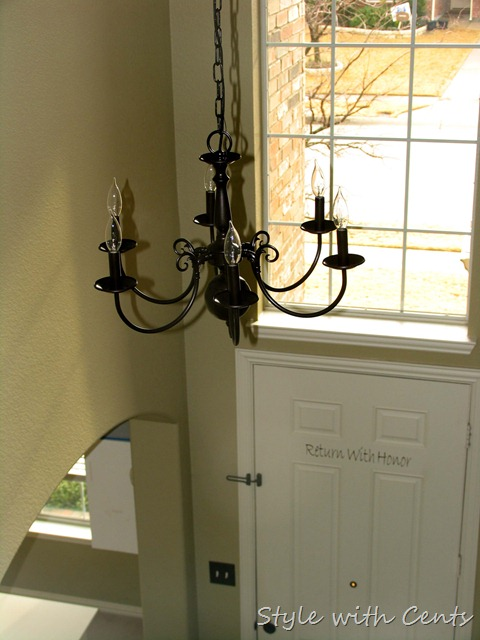 rustoleum oil rubbed bronze spray paint builder grade chandelier 2