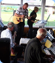 Brian Gunson (electric guitar), Kevin Johnston acoustic guitar, Jan Johnston lead keyboard, and Peter Brophy accompaniment keyboard (using his Yamaha PSR -910)