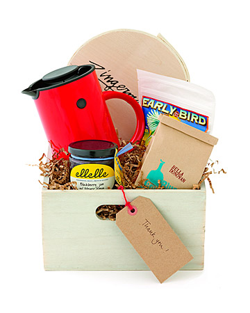 This breakfast kit includes everything you'd need to make breakfast for a group. Blackberry–Meyer lemon jam, Bella Donovan coffee beans, Farmhand's Choice granola, olive-oil cake, and a Erik Magnussen coffee press all packaged in a whitewashed wood bin.
