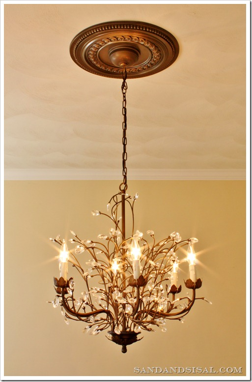 wrought iron medallion chandelier love over ceiling i would it medallions molding but chandeliers for faux
