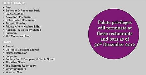 Palate Dining Privileges Anar, Bistrobar at Rochester Park, Keystone, Ochre Italian Restaurant, Pizzeria Giardino, Private Affairs, Recipes, Rasputin The Moluccas Room Vines on Nine, Bartini Society Bar, Mezze Bistro Bar, Rasputin,