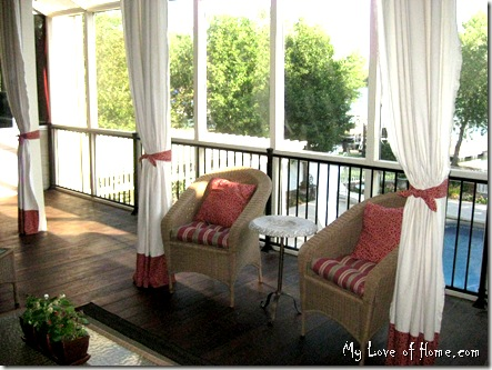 Canvas Curtains, banded canvas, red, wicker, sceened porch