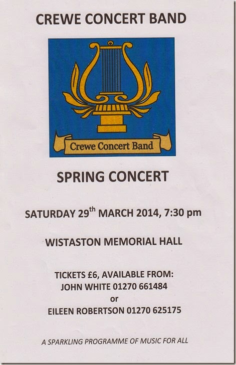 Crewe Concert Band - Sat 29 March 2014