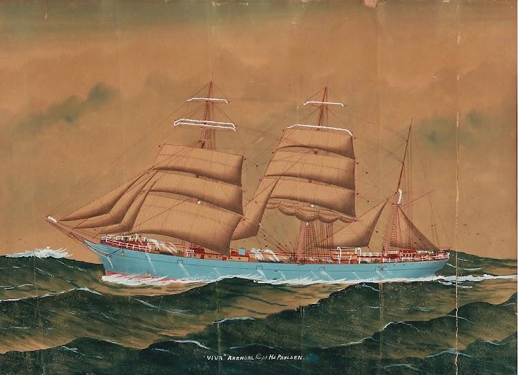 La barca noruega VIVA, de Arendalo, bajo el mando del capitan Hj Paulsen. Pintor desconocido. Ca. 1900. Gouache sobre papel sin firtma. De la web bruun-rasmussen.dk.jpg