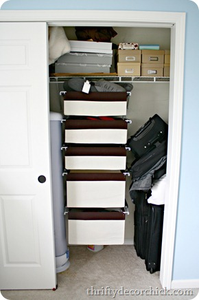 organizing a messy closet