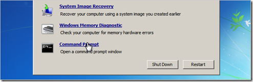 Windows Recovery Command Prompt