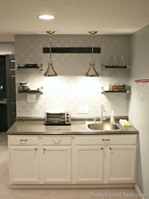 stenciled backsplash