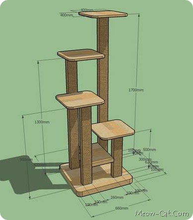 6 free plans for cat tree meow for Cat climber plans