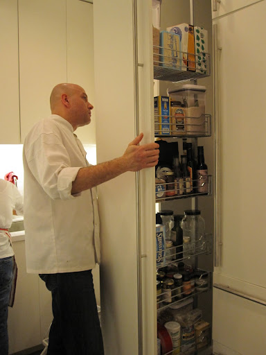 Chef Pierre goes in to my pull-out-pantry to find a few items he needs to cook dinner.