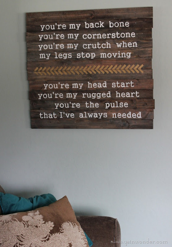 Always in Wonder: Fill your house with music- DIY Lyric pallet sign