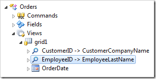 The EmployeeID data field of the Orders controller in the Project Explorer of Code On Time app generator.