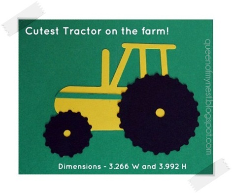 Tractor SVG Cut Closeup with Tape Frame
