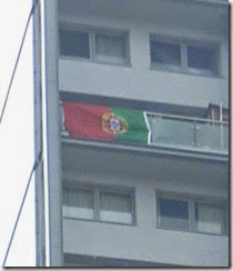 2 world cup flags on tower block kensal rise