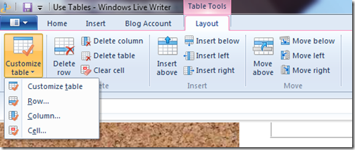 livewriter customize tables layout tab