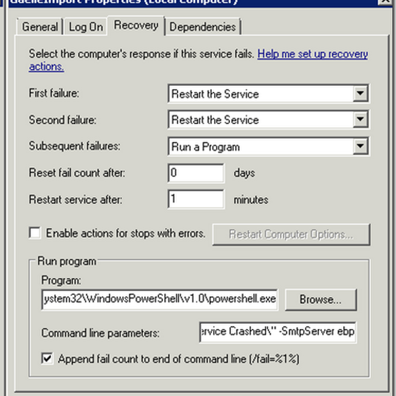 Email alert using PowerShell when a windows service failed