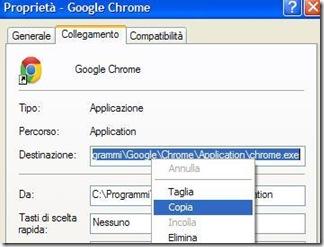 Copiare la destinazione di un programma su Windows