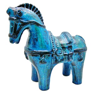 Rimini Blu pottery horse by Aldo Londi for Bitossi