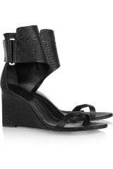 Karl Woven patent-leather wedge sandals