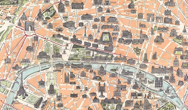 CONFESSIONS OF A PLATE ADDICT Playing With Vintage Maps Of Paris - Paris map monuments