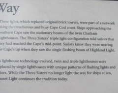 Cape Cod lighthouse 3 sisters sign Way