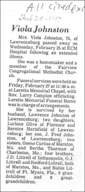 Littrell-Johnston V Viola Sis Obit