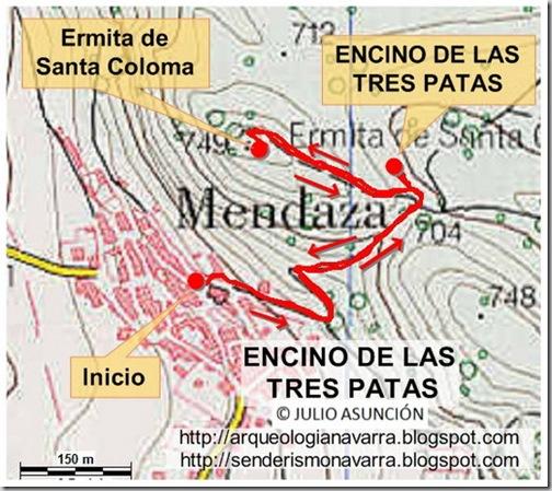 Mapa ruta Encino de las tres patas